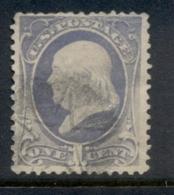 USA 1881-82 Sc#206 1c Franklin, Large Banknote, Soft Paper FU - 1847-99 Emisiones Generales
