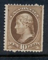 USA 1881-82 Sc#209 10c Jefferson, Large Banknote, Soft Paper FU - 1847-99 Emisiones Generales