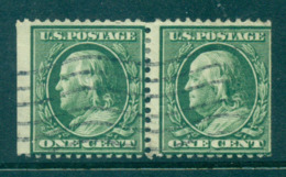 USA 1908-09 Sc#331 1c Green Franklin Perf 12 Wmk D/L Pair FU Lot68858 - Non Classés