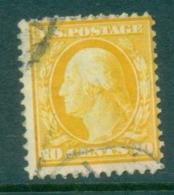 USA 1908-09 Sc#338 10c Yellow Washington Perf 12 Wmk D/L FU Lot68897 - Etats-Unis