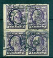 USA 1908-09 Sc#345 3c Deep Violet Washington TyI IMPERF Wmk D/L Blk 4 2mm Spacing FU Lot69302 - Unclassified