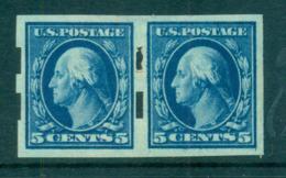 USA 1908-09 Sc#347 5c Blue Washington IMPERF Wmk D/L Pair Schermack TyIII 2mm Spacing MLH Lot69304 - United States