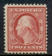 USA 1910-11 Sc#375 2c Carmine Washington Perf 12 Wmk S/L MUH - Etats-Unis