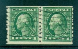 USA 1912 Sc#412 1c Green Washington Perf 8.5 Vert Wmk S/L Pair FU Lot69340 - Unclassified