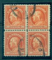 USA 1912-14 Sc#420 30c Orange Red Franklin Perf 12 Wmk S/L Blk 4 FU Lot68979 - Unclassified