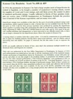 USA 1914 Sc#408-9 1c Green,2c Carmine Washington IMPERF Wmk S/L Kansas City Roulettes Blk S 4 MLH Lot69339 - Unclassified