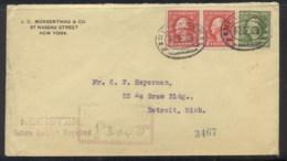 USA 1915 2x2c, 8c Washington Registered Cover To Detroit, Missing Backflap - United States