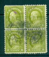 USA 1916-17 Sc#470 8c Olive Green Franklin Perf 10 No Wmk Blk 4 FU Lot69079 - Unclassified