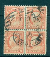 USA 1916-17 Sc#471 9c Salmon Red Franklin Perf 10 No Wmk Blk 4 FU Lot69084 - Unclassified