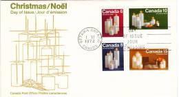 1972  Christmas  Complete Set Of 4 On 1 FDC  Sc 606-9  Canada Post Cachet - Omslagen Van De Eerste Dagen (FDC)