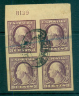 USA 1916-17 Sc#483 3c Violet Washington TyI IMPERF No Wmk P#8139 Blk 4 FU Lot69372 - Unclassified