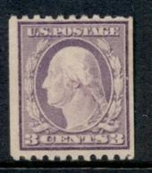 USA 1916-19 Sc#489 3c Washington TyI Perf 10 Horiz No Wmk MLH - Etats-Unis