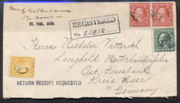 USA 1920 Wahhington-Franklin Registered Cover To Germany, Perfins, Cinderella Bank Label - Unclassified