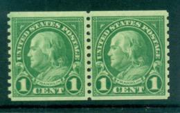 USA 1923-29 Sc#597 1c Franklin Coil Perf 10 Vert (Rotary) Line Pr MLH Lot68070 - Non Classificati