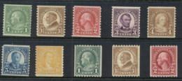 USA 1923-29 Sc#597-606 Rotary Coils MLH - Etats-Unis
