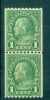 USA 1923-29 Sc#604 1c Franklin Coil Perf 10 Horiz (Rotary)pr MLH Lot68114 - Non Classificati