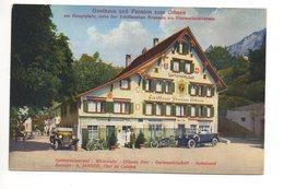 BRUNNEN Gasthaus Ochsen Postauto Oldtimer Auto Motorrad - SZ Schwyz