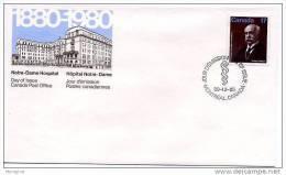 1980 Dr Lachapelle, Médecin   Scott  877    Y&T 756 - Omslagen Van De Eerste Dagen (FDC)