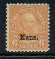 USA 1929 Sc#664 6c Fourth Bureau Opt Kans. MLH - Etats-Unis