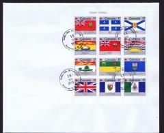 1979   Canada Day  - Flags Of The Provinces And Territories Sc 822a Pane Of 12 (821-832) - Omslagen Van De Eerste Dagen (FDC)
