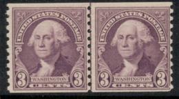 USA 1932 Sc#721 Washington 3c Coil Perf 10 Vert Line Pr MUH - Etats-Unis