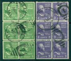 USA 1938-54 Sc#804b,807a  Prexie Booklet Pane 1c,3c FU (lot23288) - Vereinigte Staaten