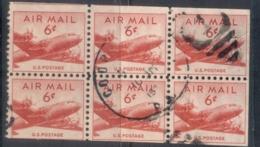 USA 1949 Sc#C39a DEC4 Skymaster 6c Booklet Pane FU - Vereinigte Staaten