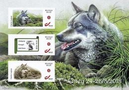 """Eventcard A. Buzin Met 2 Zelfklevende Zegels """"Wolf"""" En Logo S.P.A.B.  Ciney 24-26/08/2018 - 1985-.. Oiseaux (Buzin)"""