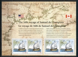 USA 2006 Sc#4074 Voyage Of Samuel De Champlain Joint Canada MS MUH - United States