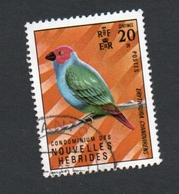 1972 Parrot Bird Red Green Nouvelles Hebrides 20c Yvert Tellier No. 341 Timbre Usagee, Sans Charniere - Légende Française