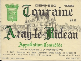 TOURAINE DEMI-SEC AZAY-LE-RIDEAU  1986  (8) - Bordeaux