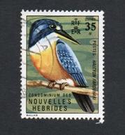 1972 Bird Orange Blue Kingfisher Nouvelles Hebrides 35c Yvert Tellier No. 332 Timbre Usagee, Sans Charniere - Légende Française