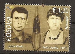 KOSOVO 2018,PERSONS,, National Heroes Afrim Zhitia Fahri Fazliu,MNH - Kosovo