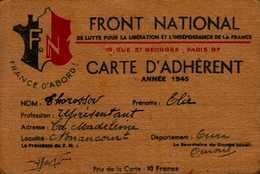 CARTE D'ADHERENT  FRONT NATIONAL  1945 - Cartes