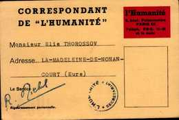 "CARTE D'IDENTITE DU CORRESPONDANT DE PRESSSE  1964..DE ""L'HUMANITE"" - Cartes"