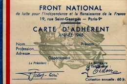 FRONT NATIONAL...CARTE D'ADHERENT 1948....DOS VIERGE - Cartes