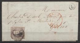 """L. De LEDE Affr. N°6 Càd ALOST /26 DEC 1853 Pour GAND - Boîte Rurale """"L"""" - 1851-1857 Médaillons (6/8)"""