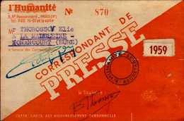 L'HUMANITE...CORRESPONDANT DE PRESSE  1959...DOS VIERGE - Cartes