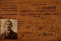 ORDRE NATIONAL DES MUTILES COMBATTANTS ET VICTIME DE LA GUERRE..CARTE DE COMBATTANT - Cartes