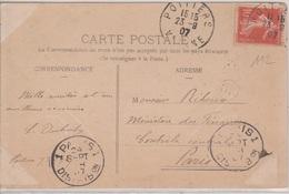 KRAG 1 PARIS 1 / DISTRIBON Lettres Larges Bd Seul En Arrivée 24/9/1907 Sur CP De Poitiers Avec Marque OR - 1877-1920: Periodo Semi Moderno
