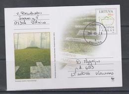 Lithuania Litauen 2003 Postal Card Mi Pso2 Used Monument 'Centre Of Europe' - Lithuania