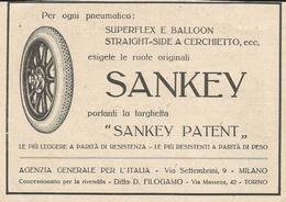PUBBLICITA' RUOTE SANKEY RITAGLIATA DA GIORNALE (1) - Werbung