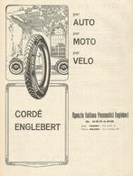 PUBBLICITA'  CORDE' ENGLEBERT PER AUTO  MOTO  E VELO PNEUMATICI  1923  RITAGLIATA DA GIORNALE (5) - Werbung