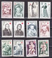 France 1366/1367,1400/1401,1433/1434,1466/1467,1508/1509,1540/1541 Croix Rouge Neuf ** TB MNH  Sin Charnela Cote 10.5 - Croix-Rouge