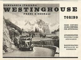 PUBBLICITA'  COMPAGNIA ITALIANA WESTINGHOUSE FRENI E SEGNALI TORINO 1939  RITAGLIATA DA GIORNALE (7) - Werbung