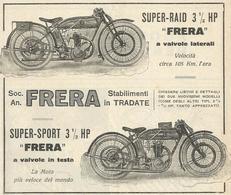 PUBBLICITA'  FRERA STABILIMENTI IN TRADATE SUPER RAID - SUPER SPORT LA MOTO PIU' VELOCE DEL MONDO 1923  RIT. DA GIORN. - Werbung