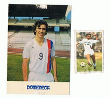LYON - CARTE PUBLICITE OLYMPIQUE LYONNAIS , O L  , JOUEUR  RAYMOND DOMENECH + PHOTO 7X5 - PUBLICITE SOMMS - Football