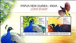 XE1153 Papua New Guinea 2017 And Indian Uniform Birds Peacock Bliss Bird S/S MNH - Papouasie-Nouvelle-Guinée
