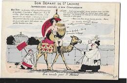 POLITIQUE SON DEPART DE SAINT LAZARE  EN RTE POUR LE PALAIS  DESSIN COULEURS - Satiriques