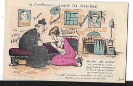 POLITIQUE  CONFESSION AVANT LES ASSISES   FEMME ET CURE  DESSIN COULEURS - Satiriques